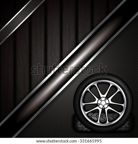 Realistic car wheel with shining rim.Vector illustration  - stock vector