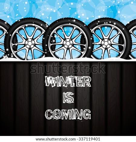 Realistic car wheels.Winter concept.Vector - stock vector