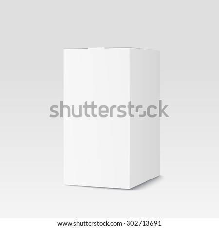 Realistic cardboard box on white background. White container, packaging. Vector illustration - stock vector