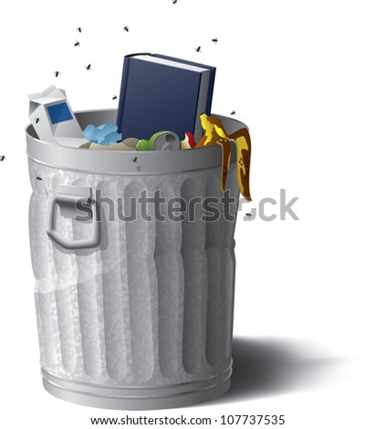 Realistic cartoon illustration of a blank hardcover book sticking out of a garbage can full of rotting trash. Add your own text to the book's cover if you'd like. Isolated on white.
