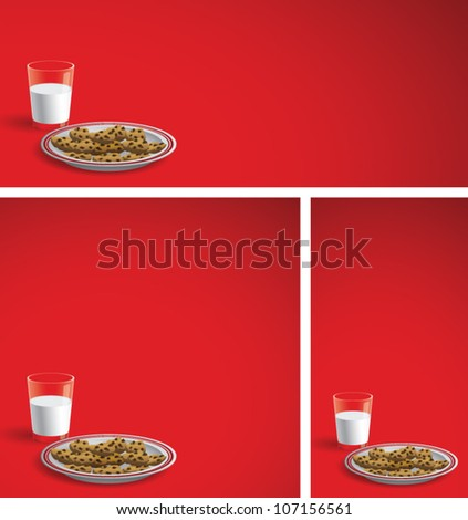 Realistic cartoon illustration of a Christmas background showing a plate of chocolate chip cookies with a glass of milk. Plenty of copy space. - stock vector