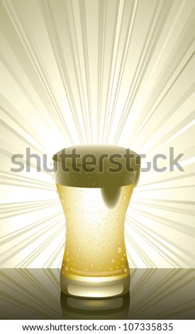 Realistic cartoon illustration of a glass of beer on a reflective surface with rays of light shining from behind it. Vertical composition with plenty of copy space. - stock vector