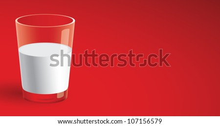 Realistic cartoon illustration of a glass of milk isolated on red. Plenty of copy space. - stock vector