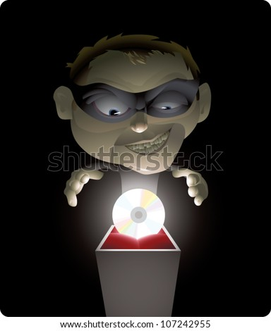 Realistic cartoon illustration of a professional thief about to steal a CD, which could represent stealing music, software, movies, or other data. Solid color background can be resized for copy space. - stock vector