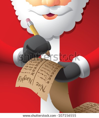 Realistic cartoon illustration of Santa Claus double checking his naughty/nice list. - stock vector