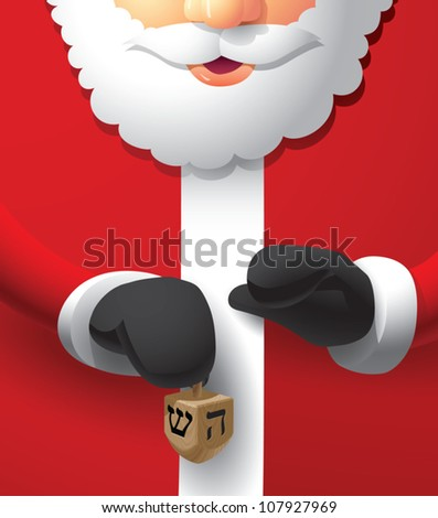 Realistic cartoon illustration of Santa Claus holding a wooden dreidel.