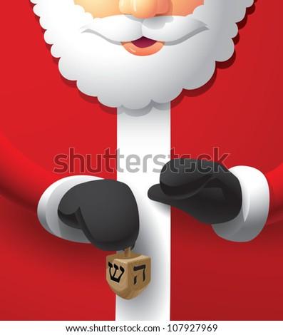 Realistic cartoon illustration of Santa Claus holding a wooden dreidel. - stock vector