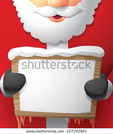 Realistic cartoon illustration of Santa Claus holding a wooden sign with a blank piece of paper pasted on it, leaving room for your own content.