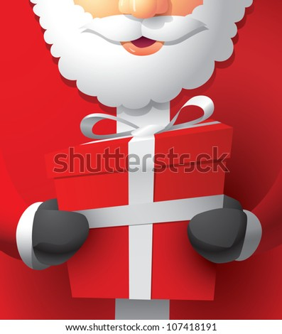 Realistic cartoon illustration of Santa Claus holding a wrapped Christmas gift. - stock vector
