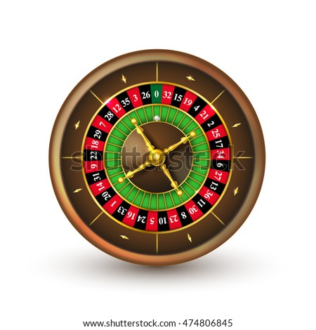 Realistic casino roulette wheel (European) isolated on white background. Detailed vector illustration