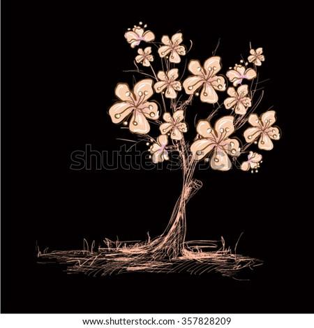 Realistic Cherry blossom, sakura tree free hand style on white background - stock vector