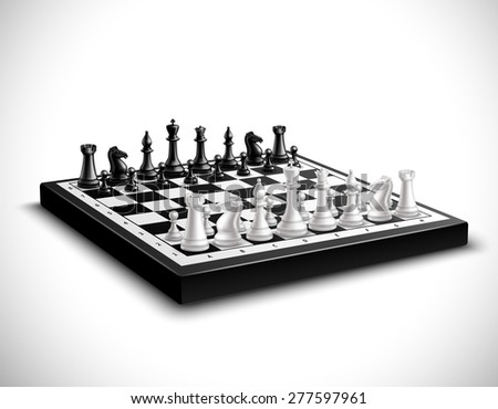 Realistic chess board with 3d black and white figures set vector illustration