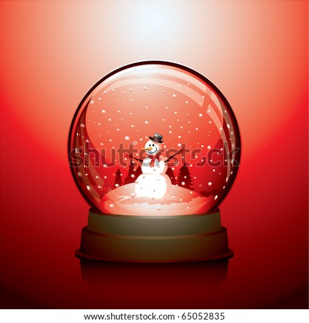 Realistic Christmas snow globe with a snowman within - stock vector