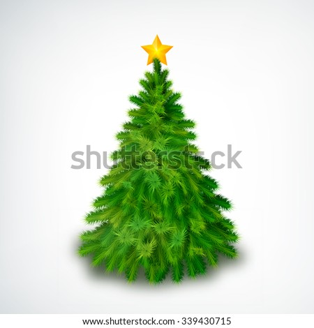 realistic Christmas tree with gold star on the top. Glowing festive object isolated on the white background. Vector Illustration, eps10, contains transparencies. - stock vector