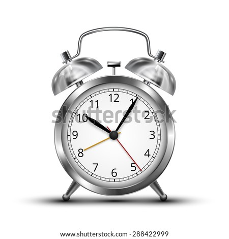 Realistic  chrome metal alarm clocks.  Vector illustration on white background