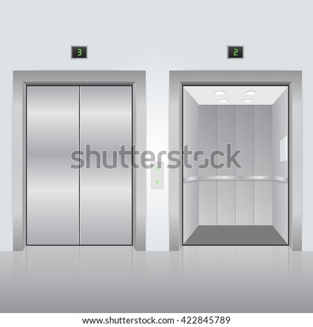 Realistic chrome opened and closed elevator doors in office building. Vector illustration. - stock vector