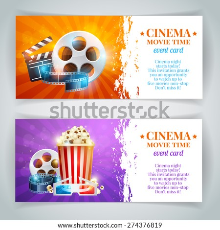 Realistic cinema movie poster template with film reel, clapper, popcorn, 3D glasses, concept banners with bokeh - stock vector
