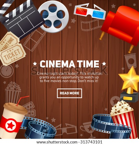 Realistic cinema movie poster template with film reel, clapper, popcorn, 3D glasses, concept banner on wooden planks background - stock vector