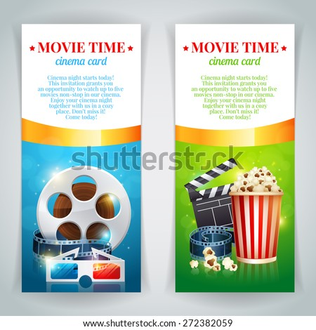 Realistic cinema movie poster template with film reel, clapper, popcorn, 3D glasses, conceptbanners with bokeh - stock vector