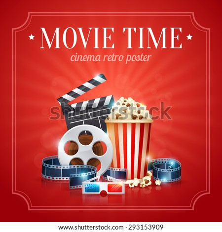 Realistic cinema movie poster template with film reel, clapper, popcorn, 3D glasses, with bokeh background - stock vector