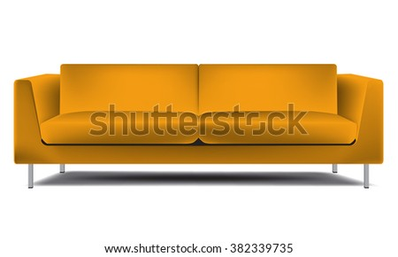 Realistic classic orange sofa isolated on white background vector illustration. Minimalism interior style - stock vector