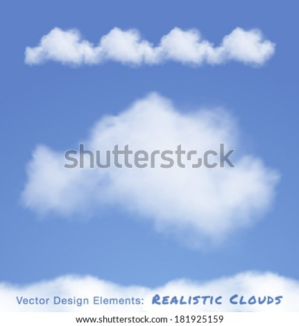 Realistic Clouds on blue sky. Vector illustration  - stock vector
