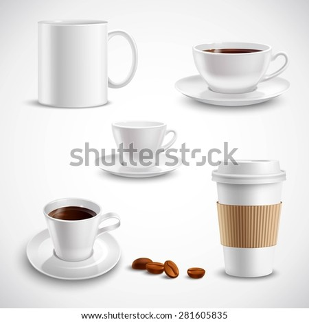 Realistic coffee set with paper cup china mug porcelain saucer isolated vector illustration - stock vector