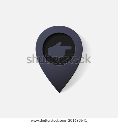 Realistic color pointer: finger to the right. Isolated illustration icon - stock vector