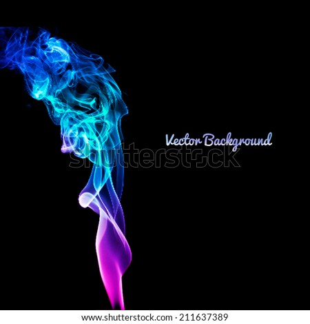 Realistic colored vector smoke, gradient of purple, blue, red colors on white background. smoke from a cigarette or smoldering objects - stock vector