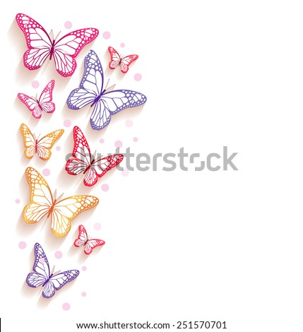 Realistic Colorful Butterflies Flying in an Empty White Background for Spring Season. Vector Illustration