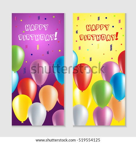Realistic Colorful Happy Birthday Balloons for Party and Celebrations. Birthday greeting card with colorful balloons and confetti. Party banner with balloons. Birthday template with flying balls