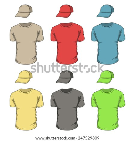 Realistic colorful T-shirts and caps. Red, blue, green, yellow, gray t-shirts and baseball caps. - stock vector