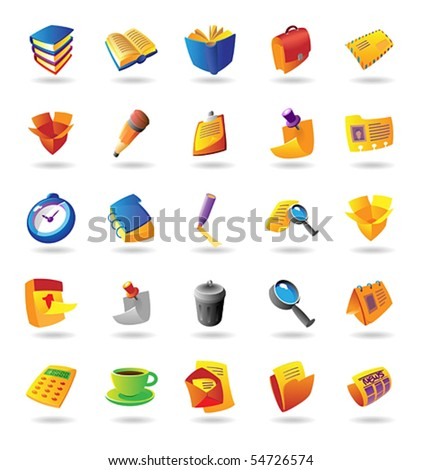 Realistic colorful vector icons set for office and stationery on white background