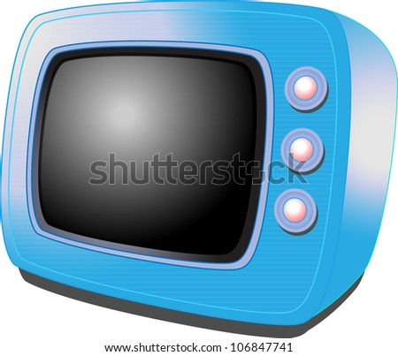 Realistic colorful vintage transistor television. Illustration on white background for design