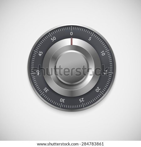 Realistic combination lock, isolated on white background. Vector illustration for your business