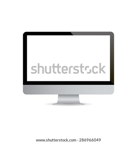 Realistic computer monitor on a white background. Isolated.  Vector illustration. - stock vector