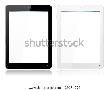 Realistic computer tablet in Black and White ipade style with separate layer so you can easily add your own image to screens - stock vector