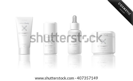 Realistic cosmetic bottle mock up set isolated pack on white background. Cosmetic brand template. Vector packaging. Oil, lotion, shampoo. Blank cosmetic package collection. Cosmetics beauty products. - stock vector