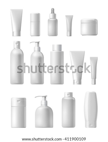 Realistic cosmetic bottle mock up set isolated pack on white background. Cosmetic brand template. Shampoo pack.