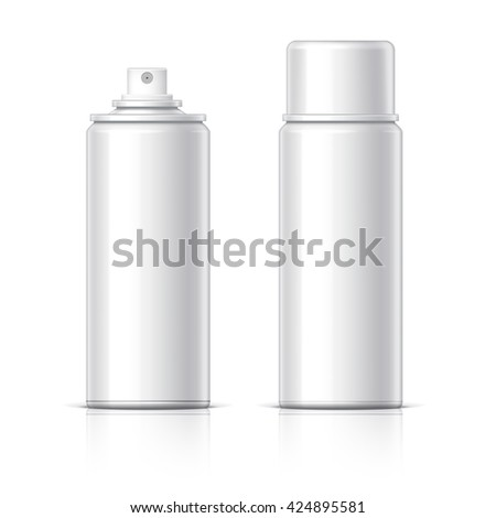 Realistic Cosmetic glass bottle can sprayer container. Dispenser for cream, soups, and other cosmetics With lid and without. Template For Mock up Your Design. vector illustration. - stock vector