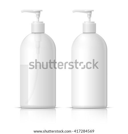 Realistic Cosmetic translucent bottle. Dispenser for cream, soap, and other cosmetics. Template For Mockup Your Design. vector illustration. - stock vector