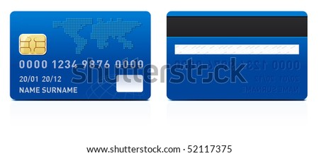 Realistic credit card isolated on white background - stock vector