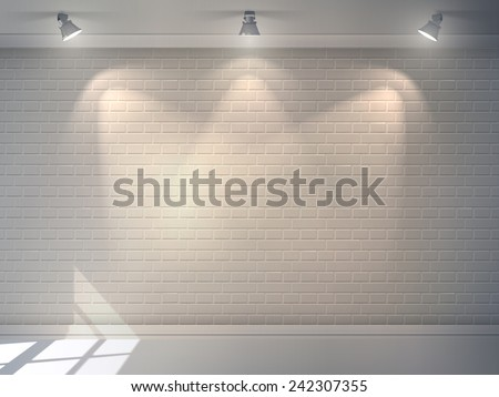Realistic 3d brick wall with projectors studio interior background vector illustration - stock vector