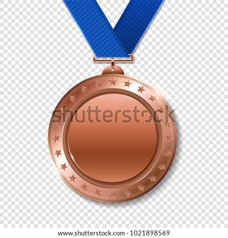 Realistic 3d bronz trophy champion award medal for winner.  Honor prize.  Modern flat style isolated on transparent background. Vector illustration
