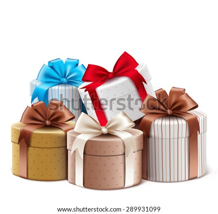 Realistic 3D Collection of Colorful Pattern Gift Box with Ribbon and Bow for Birthday Celebration, Christmas, Valentines, Party, Anniversary and Eid Mubarak. Isolated Vector Illustration - stock vector