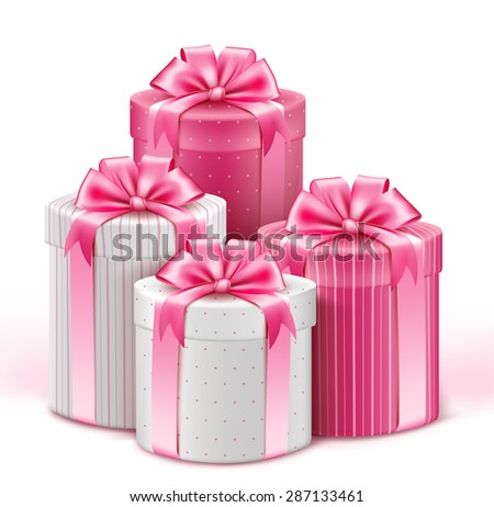 Realistic 3D Collection of Colorful Pattern Gifts for Ladies with Pink Ribbon for Birthday Celebration, Christmas, Valentines, Party, Anniversary and Eid Mubarak. Vector Illustration. - stock vector