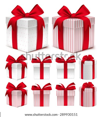 Realistic 3D Collection of Colorful Red Pattern Gift Box with Ribbon and Bow for Birthday Celebration, Christmas, Party, Anniversary and Eid Mubarak. Set of Isolated Vector Illustration - stock vector