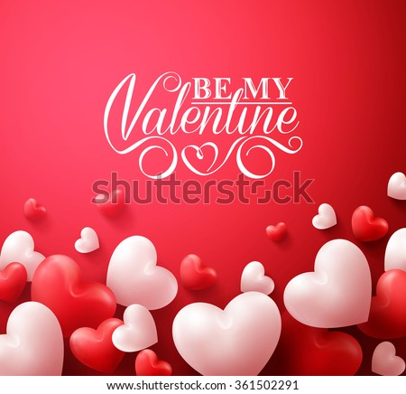 Realistic 3D Colorful Romantic Valentine Hearts in Red Background Floating with Happy Valentines Day Greetings. Vector Illustration  - stock vector