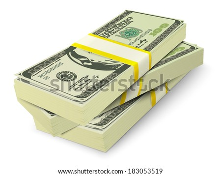 Realistic 3d dollar cash banknotes stack money concept vector illustration