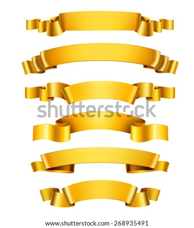 Realistic 3d golden glossy decorative congratulation ribbons set isolated vector illustration - stock vector